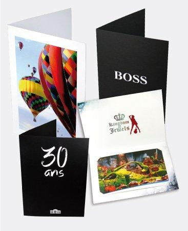 Pochette photo personnalisée sur un magifique carton noir ou blanc